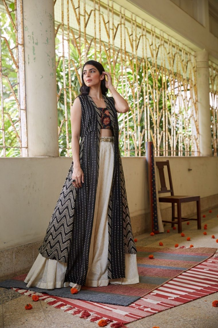 Black & White Lehenga with Cape