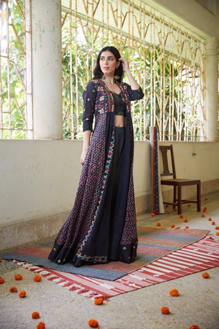 Bandhani Cape with a Printed Top & Silk Pallazos