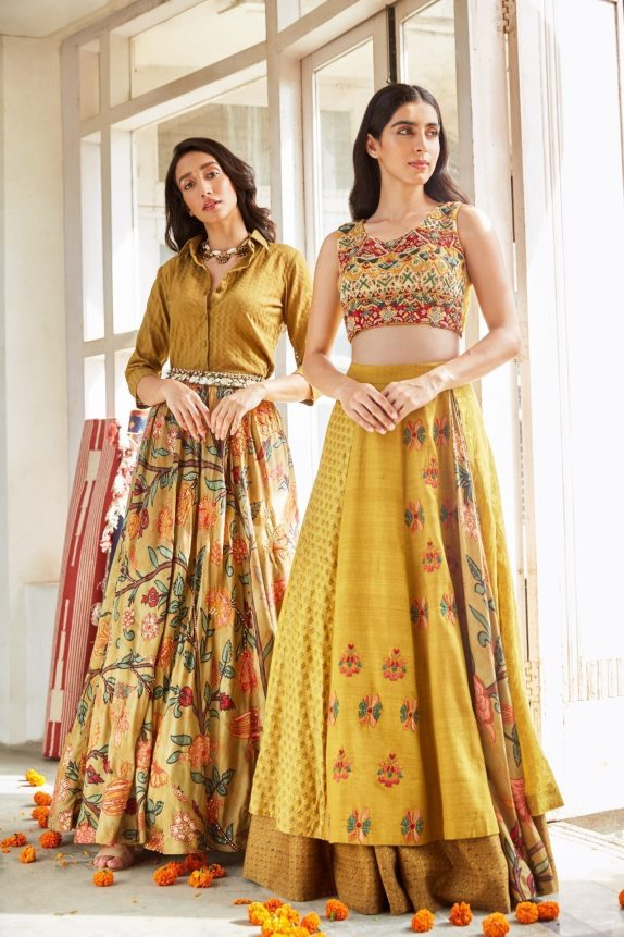 Mustard Double Layered Lehenga