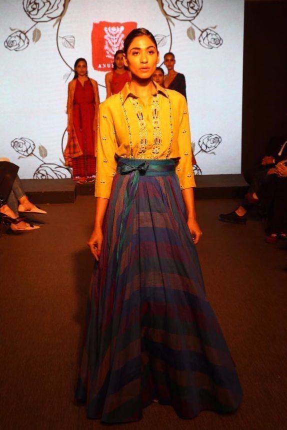 Olive Shirt & a Chanderi Skirt