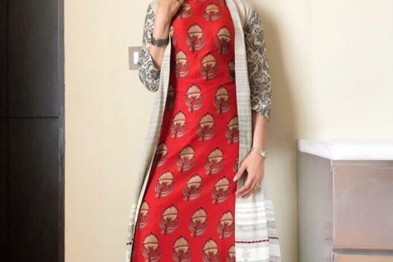 Grey & Red Kurta Pant Set