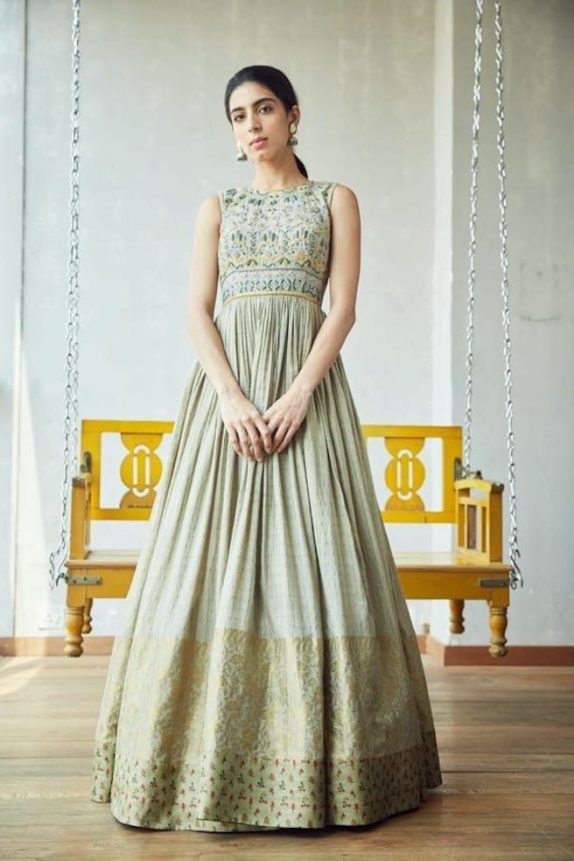 Grey Cut-out Banarasi Gown