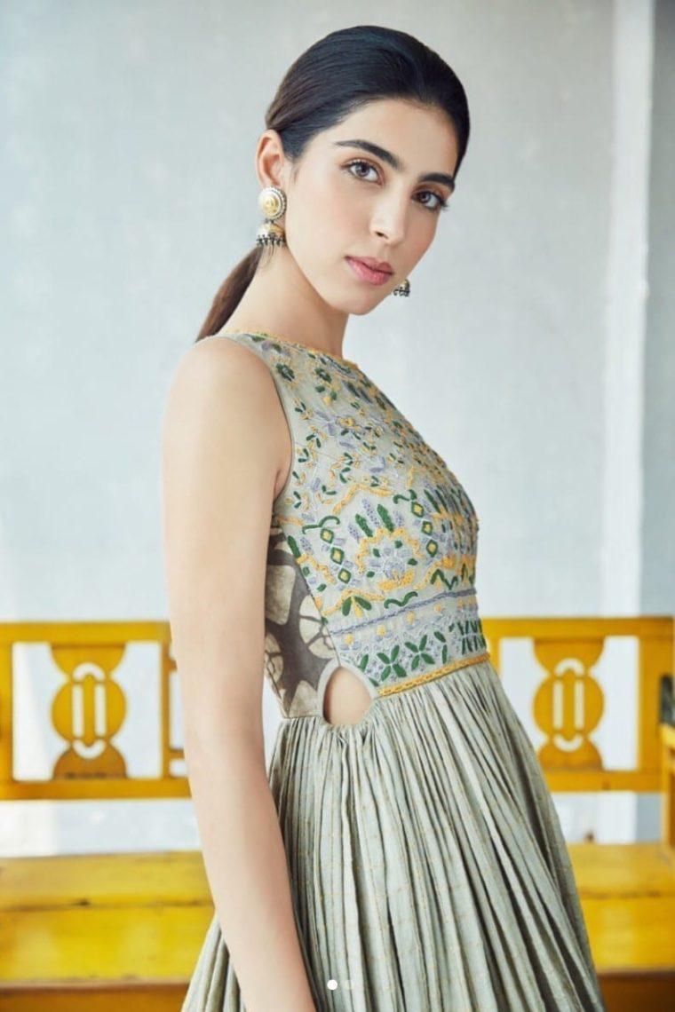 Grey Cut-out Banarasi Gown
