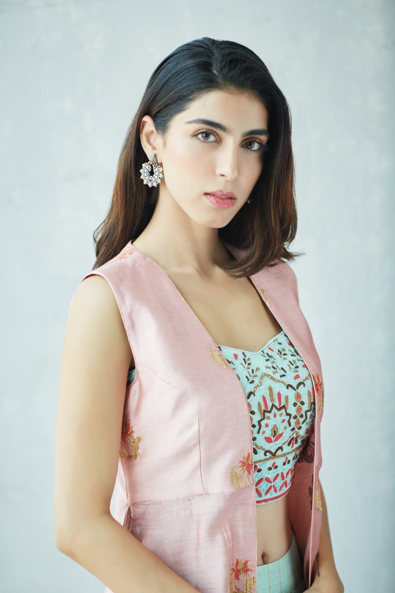 Mint Lehenga with a Pink Chanderi Cape