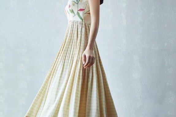 Off White Banarasi Maxi Dress