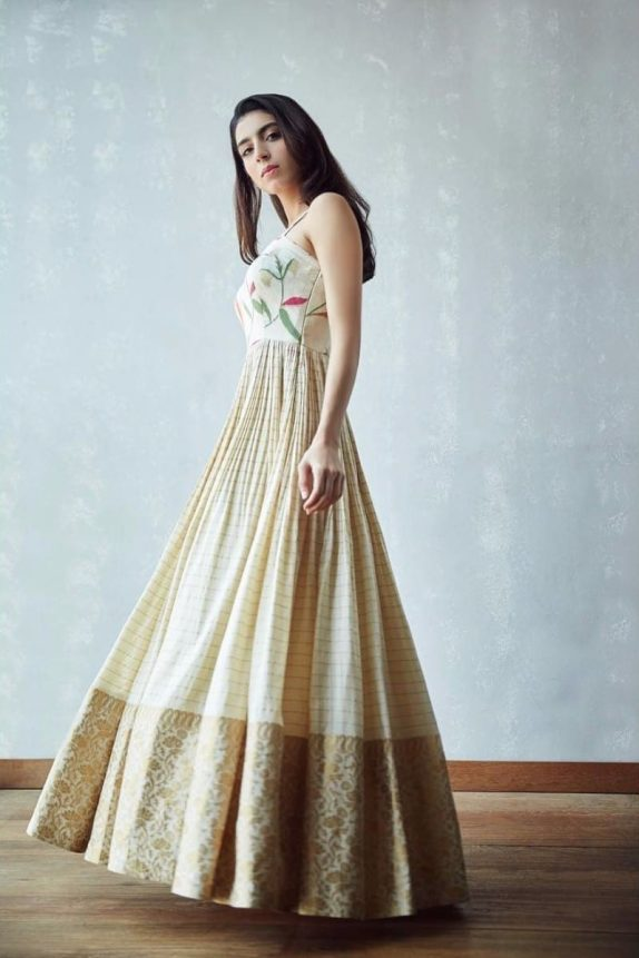 Off White Banarasi Maxi Dress