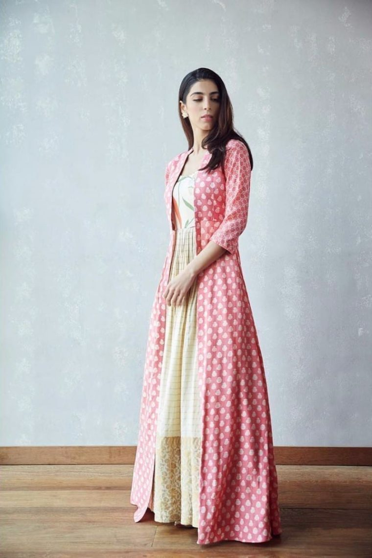 Off White Maxi with a Pink Cape