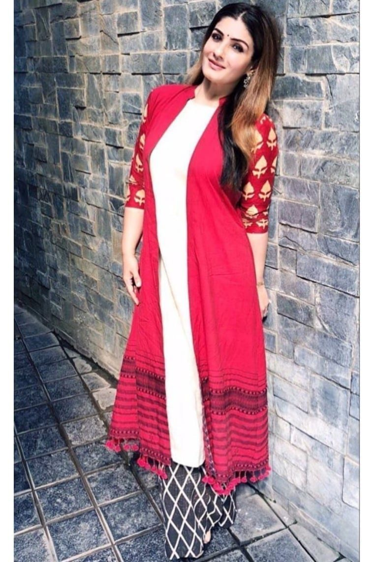 Red & White Kurta Cape Set