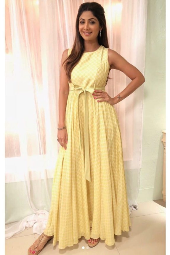 Yellow Printed Maxi with Belt