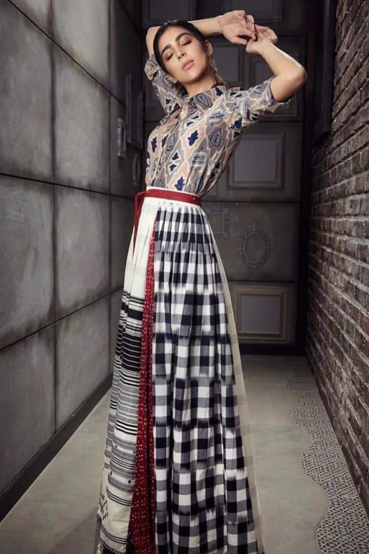 Grey Shirt with a Multi Pannel Skirt