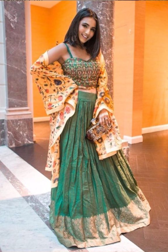 Dark Green Lehenga with a Floral Duppata