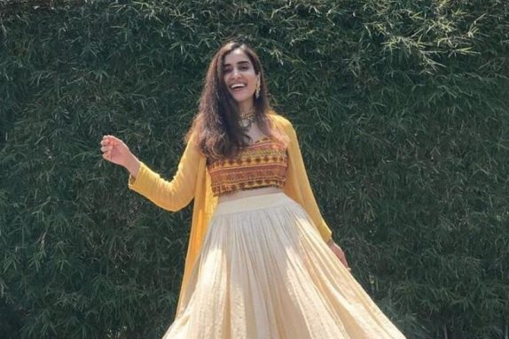 Mustard & Off White Lehenga Set