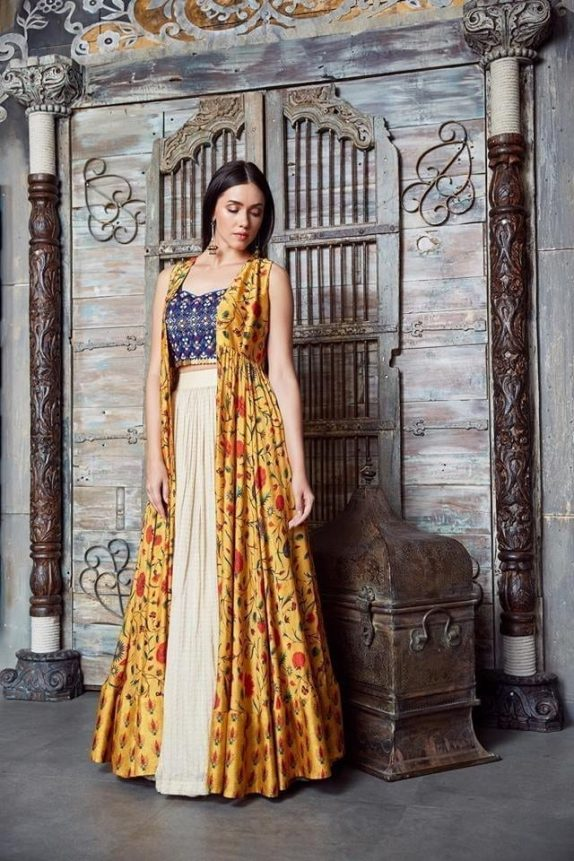 Off White & Yellow Lehenga - Cape Set