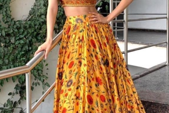 Navajo Bustier with a Highwaisted Floral Skirt
