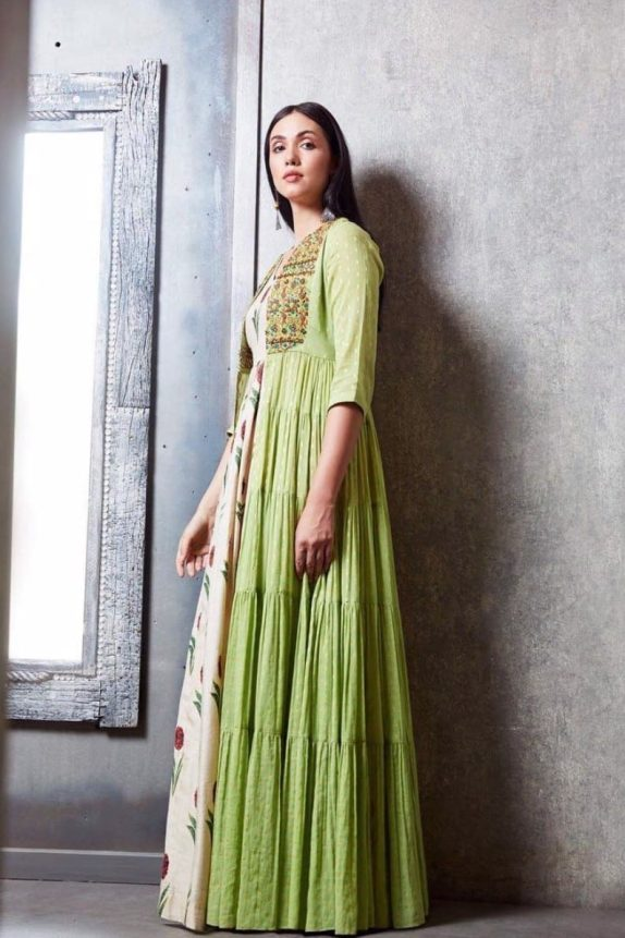 Off White Flower Maxi with Green Boho Cape