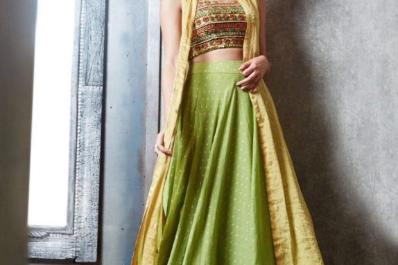 Green & Yellow Lehenga – Cape Set