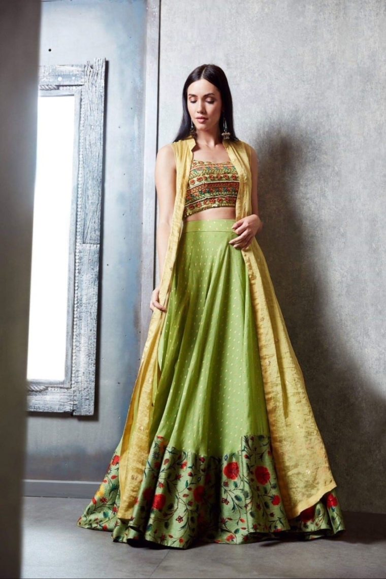 Green & Yellow Lehenga -cape Set