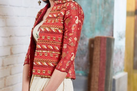 Off White & Red Blazer Lehenga