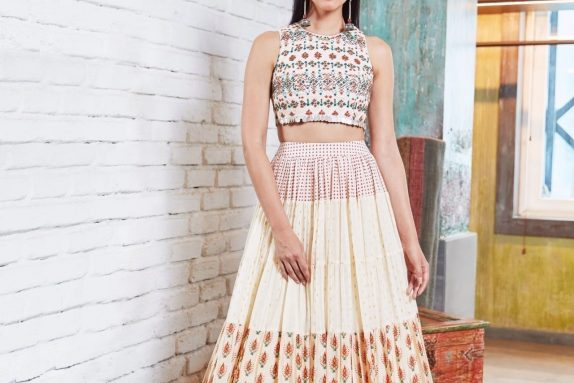 Off White Navajo multi Paneled Lehenga