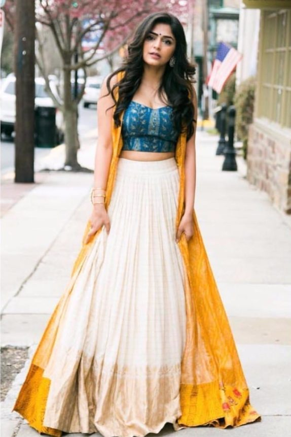 Yellow & Off White Lehenga – Cape Set