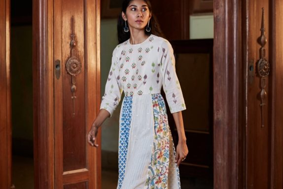 Multi Panel Block Kurta with Pants