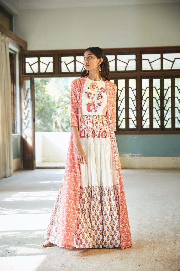 Pink & White Bohemian Maxi Dress with Cape