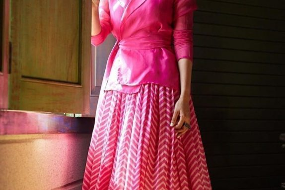 Pink Chevron Lehenga Set