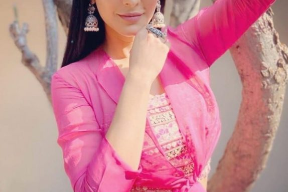 Pink Lehenga with a Knotted Shirt & Bustier