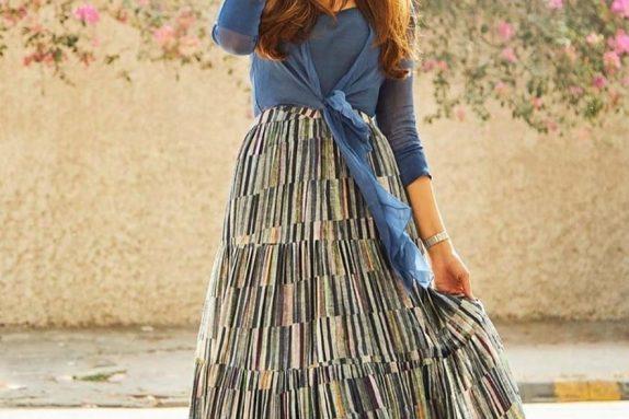 Printed Silk Gathered Skirt with an Organza shirt