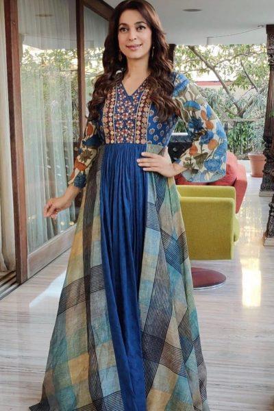 Blue Multi-Panel Maxi Dress