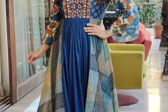 Blue Multi-Panel Maxi Dress