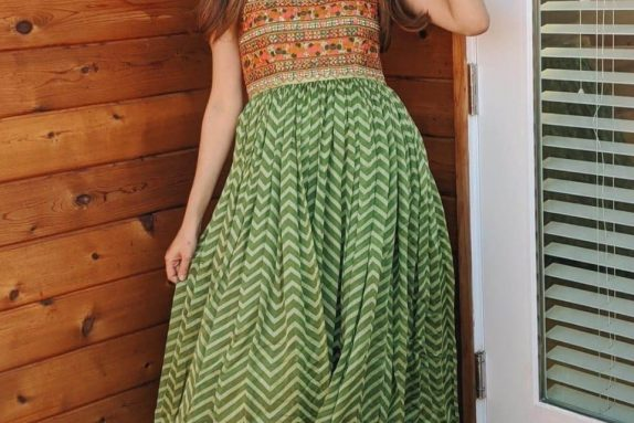 Green Chevron Maxi Dress