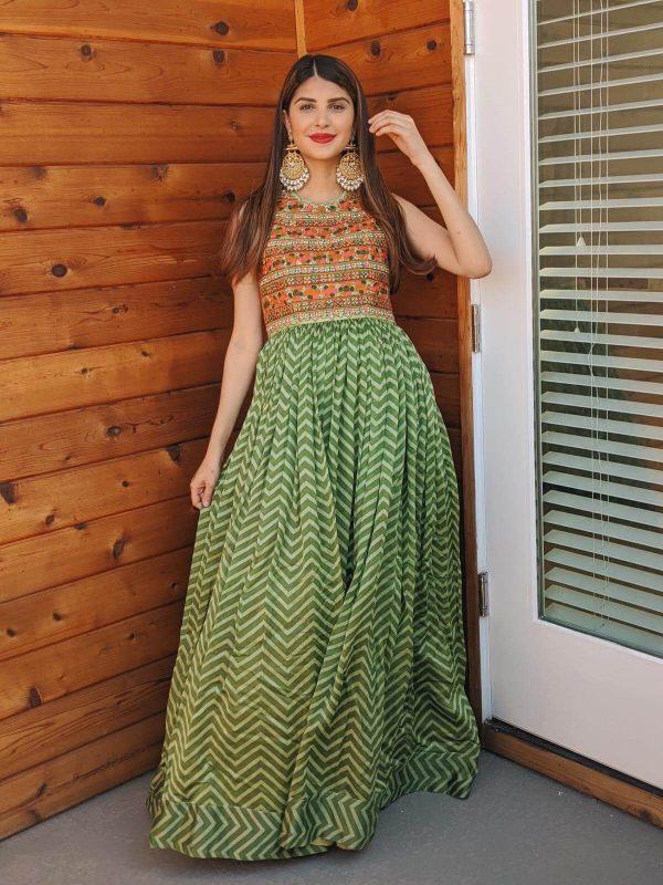 Green Chevron Maxi Dress