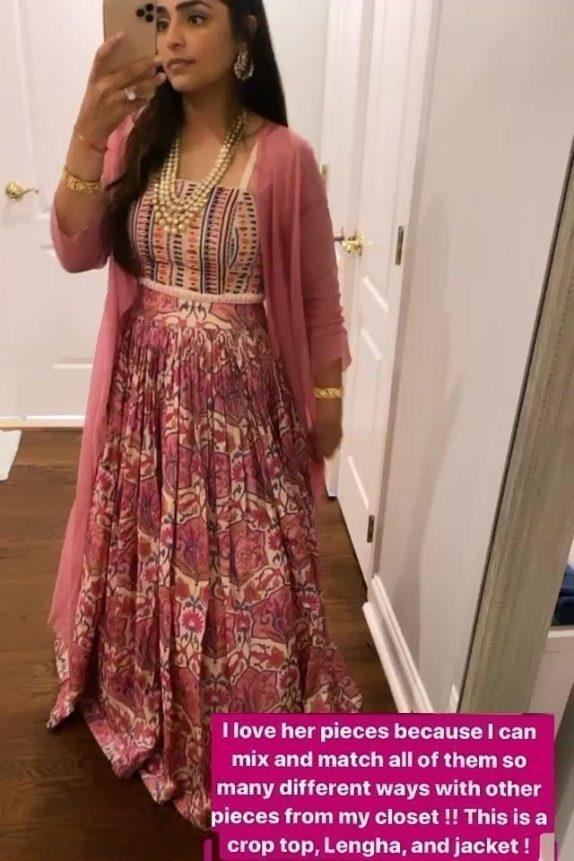 Beadwork Pink Tussar Silk Lehenga