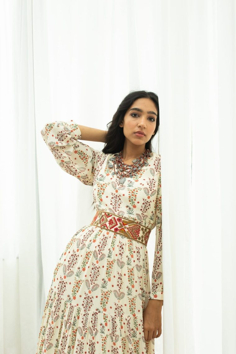 Off White Printed Maxi With a Hand Embroidered Belt