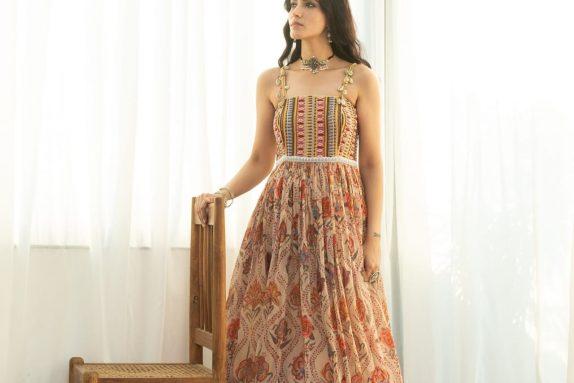 Printed Organza Beadwork Gown
