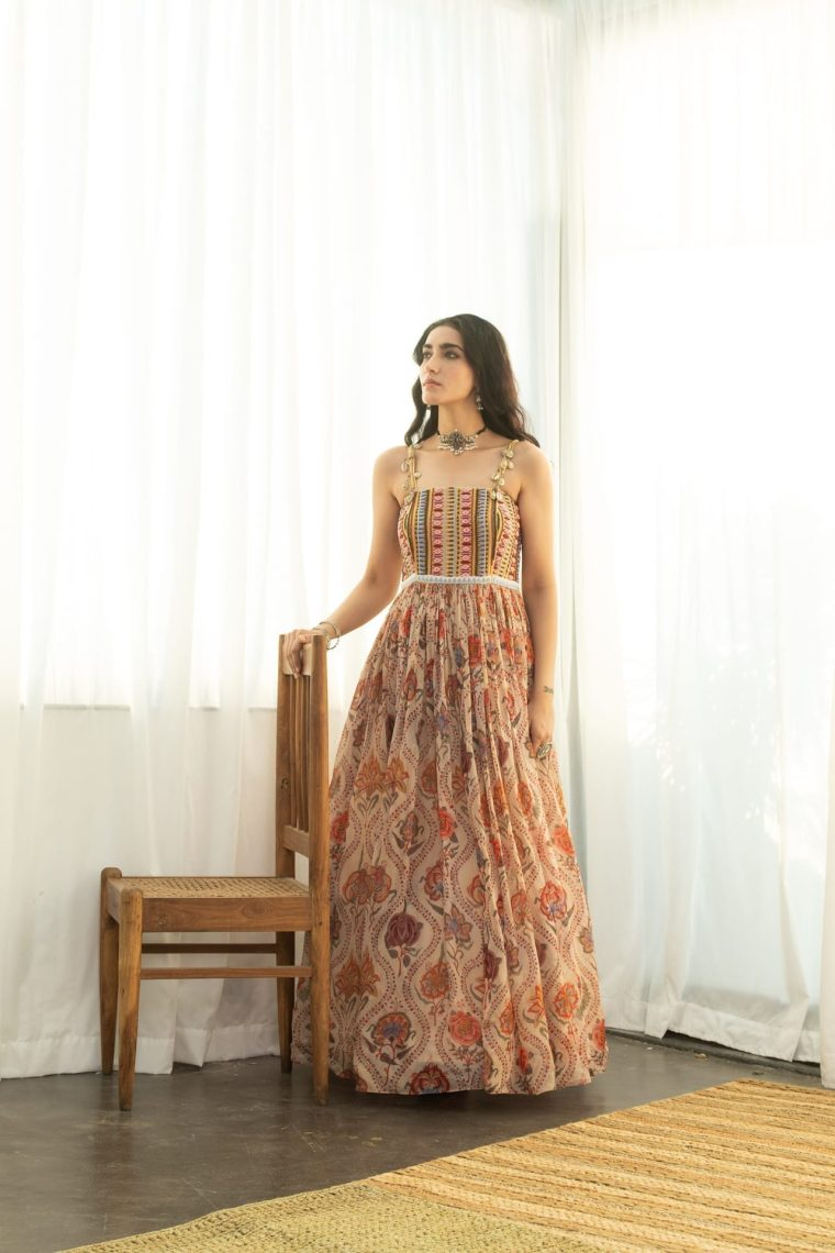 Printed Organza Beadwork Gown