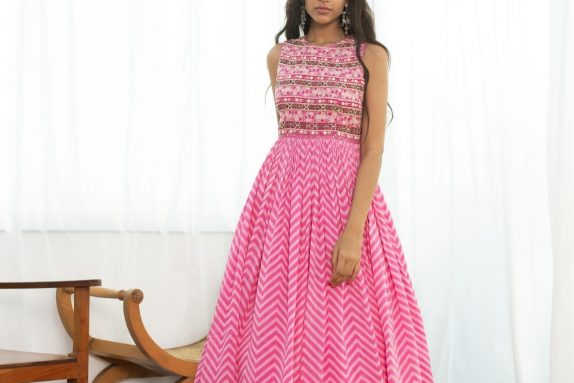 Pink Chevron Maxi Dress