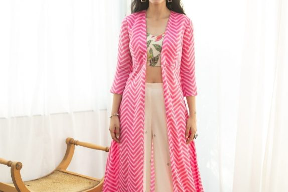 Pink Chevron Cape Set