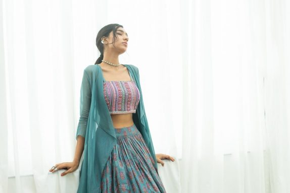 Blue Block Printed - Beadwork Lehenga