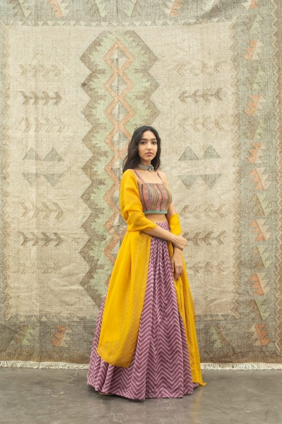 Purple Chevron Lehenga