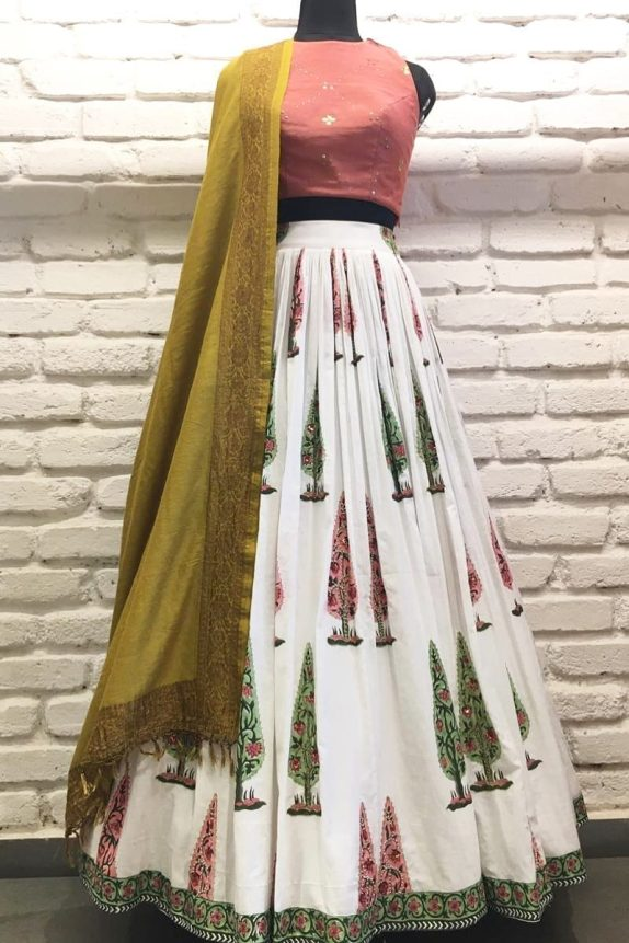 Onion Pink & Off White Lehenga Set
