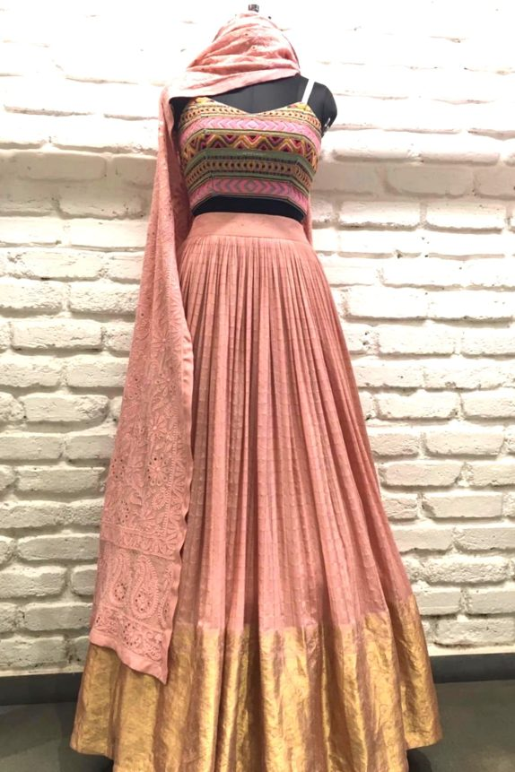 Light Pink Lucknowi Lehenga Set