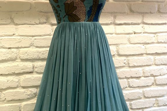 Blue Organza Maxi Dress