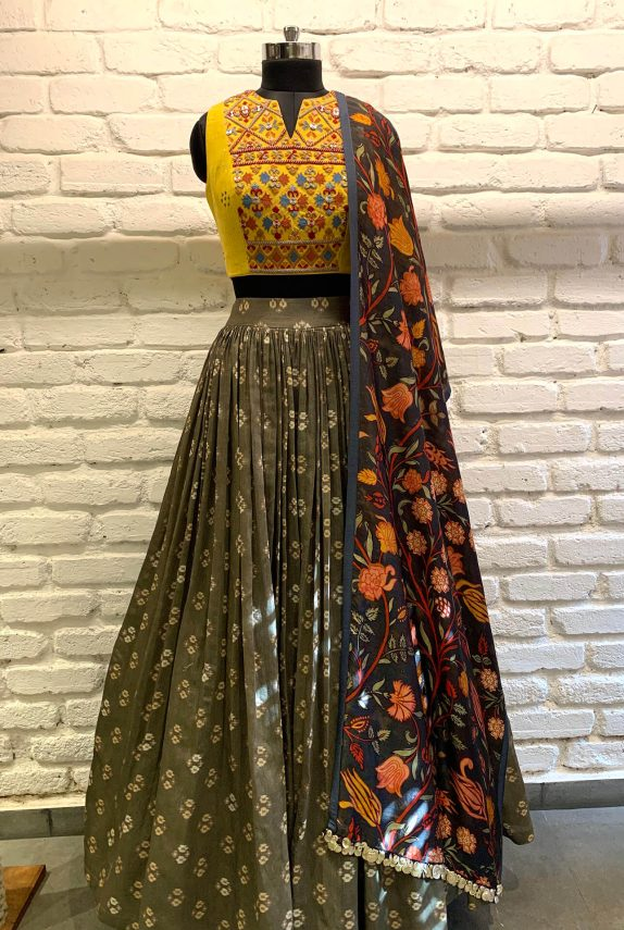 Grey & Yellow Lehenga Set