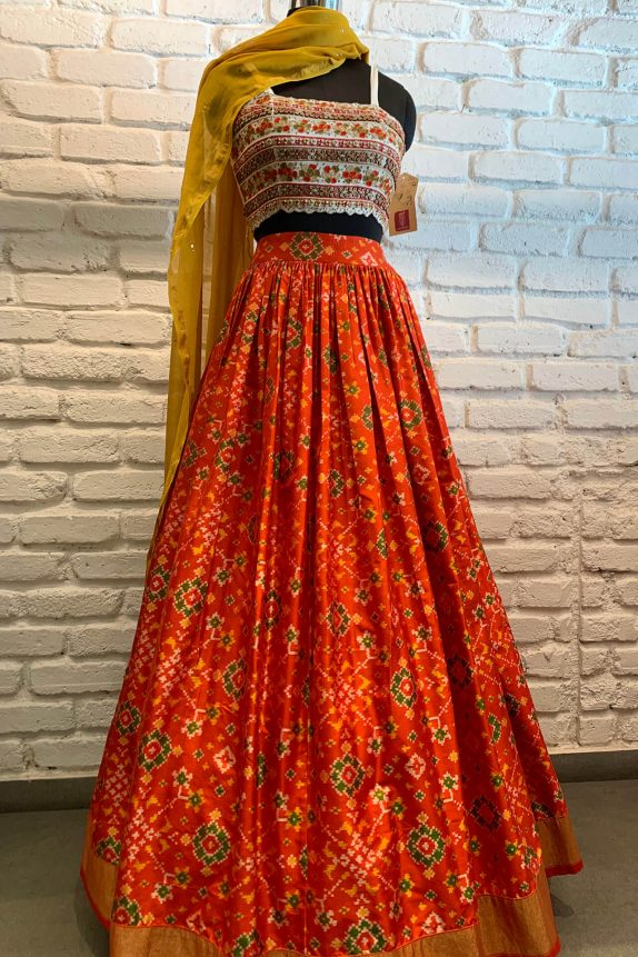 Orange & White Patola Lehenga