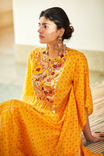Yellow Printed Kaftan