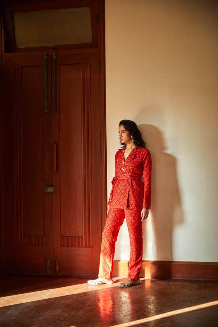 Red Bandhani Printed Pantsuit