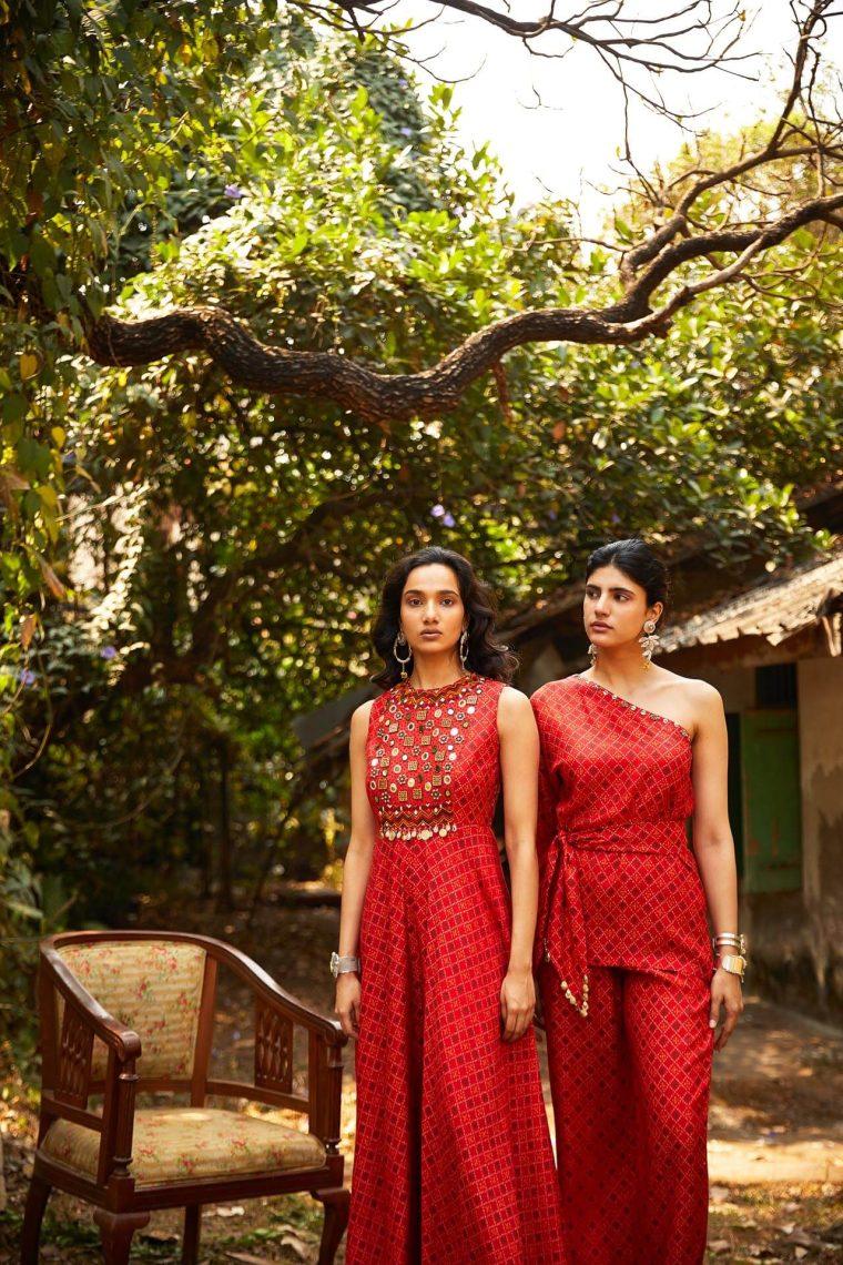 Red Bandhani Co-ord Set