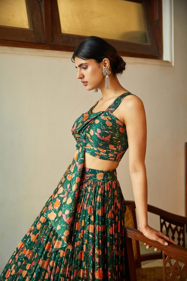 Green Tropical Bow Top & Skirt